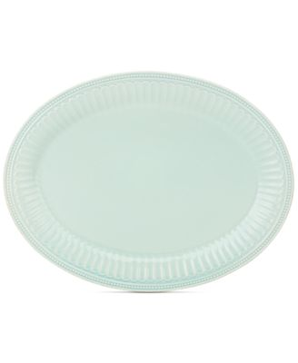 "Lenox French Perle Groove Collection 16"" Ice Blue Oval Platter"