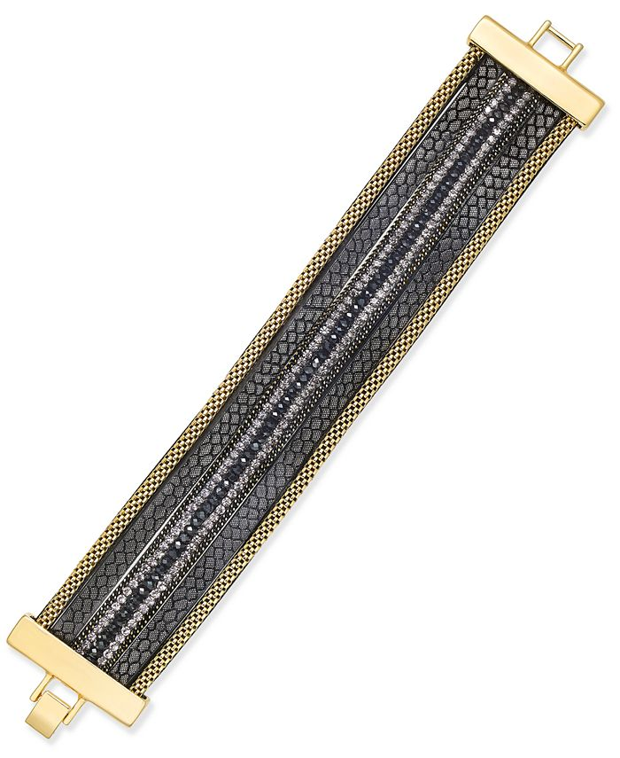 INC International Concepts - Gold-Tone Beaded Faux-Leather Bracelet