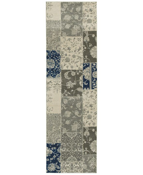 "JHB Design Tidewater Patchwork Ivory/Grey 2'3"" x 7'6"" Runner Rug"
