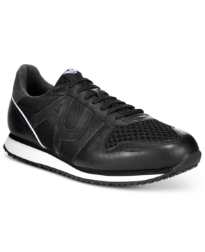 Armani Jeans Men's Logo Mesh Trainers Men's Shoes