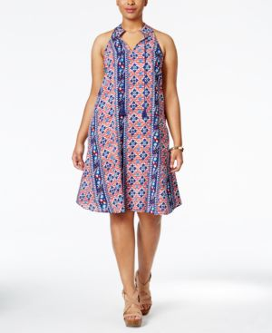 Love Squared Plus Size Printed Halter Fit & Flare Dress
