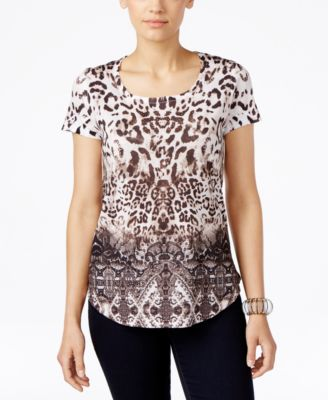 Image of Style & Co. Printed Studded T-Shirt, Only at Macy's