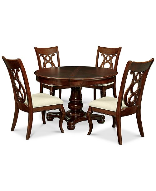 Furniture Closeout Bordeaux Pedestal Round 5 Pc Dining Room Set Dining Table 4 Side Chairs Reviews Furniture Macy S