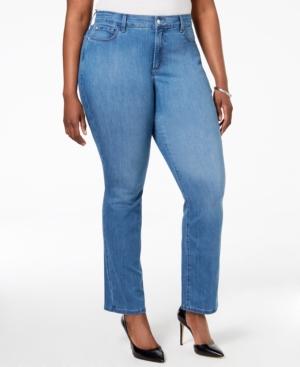 Nydj Plus Size Marilyn Arabian Sea Wash Straight-Leg Jeans