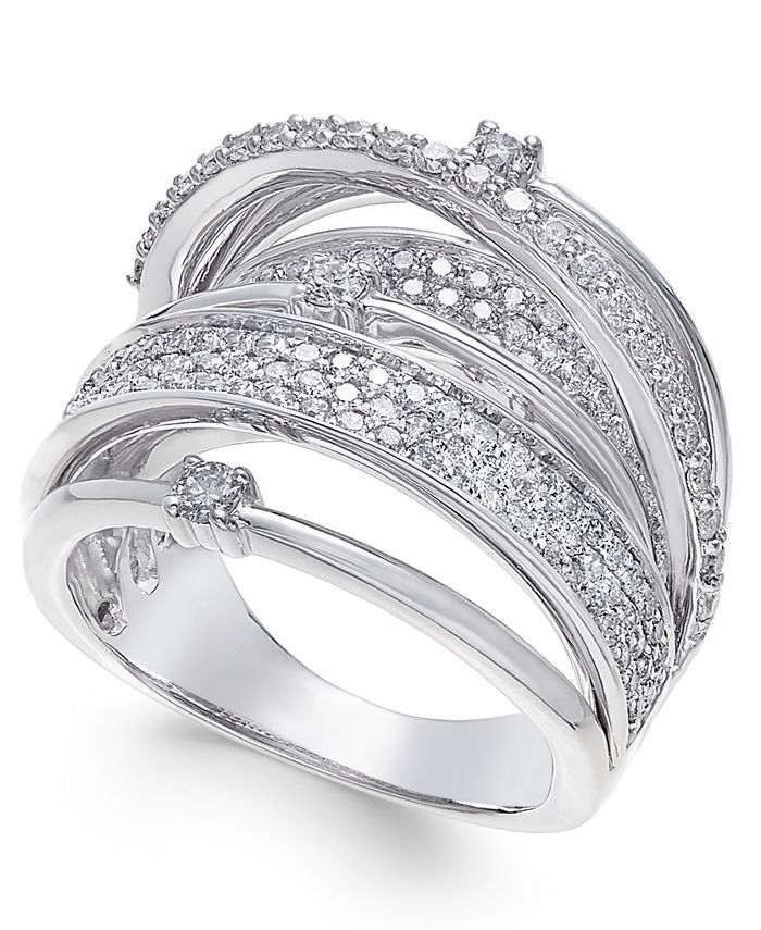 Macy's - Diamond Multi-Row Statement Ring (1-1/2 ct. t.w.) in 14k White Gold