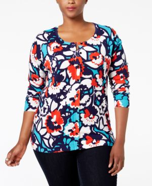 August Silk Plus Size Floral-Print Cardigan