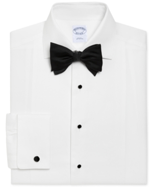 1920s Mens Evening Wear Step By Step Brooks Brothers Mens Regent Classic Fit Bib-Front Tuxedo Shirt $135.00 AT vintagedancer.com