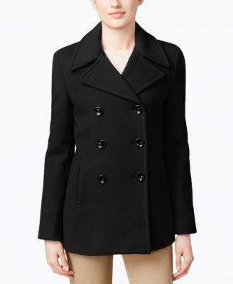 Calvin Klein Petite Wool-Cashmere-Blend Peacoat, Only at Macys