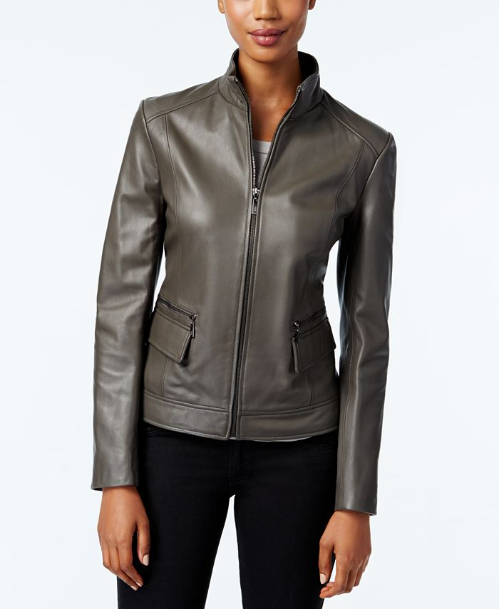 Cole Haan - Stand-Collar Leather Jacket