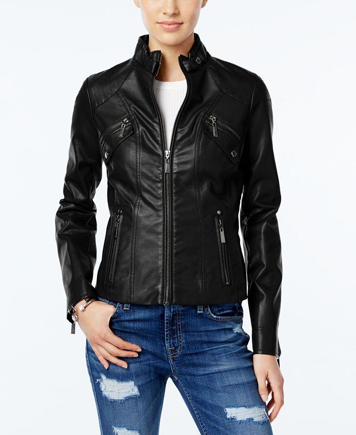 Jou Jou - Faux-Leather Moto Jacket