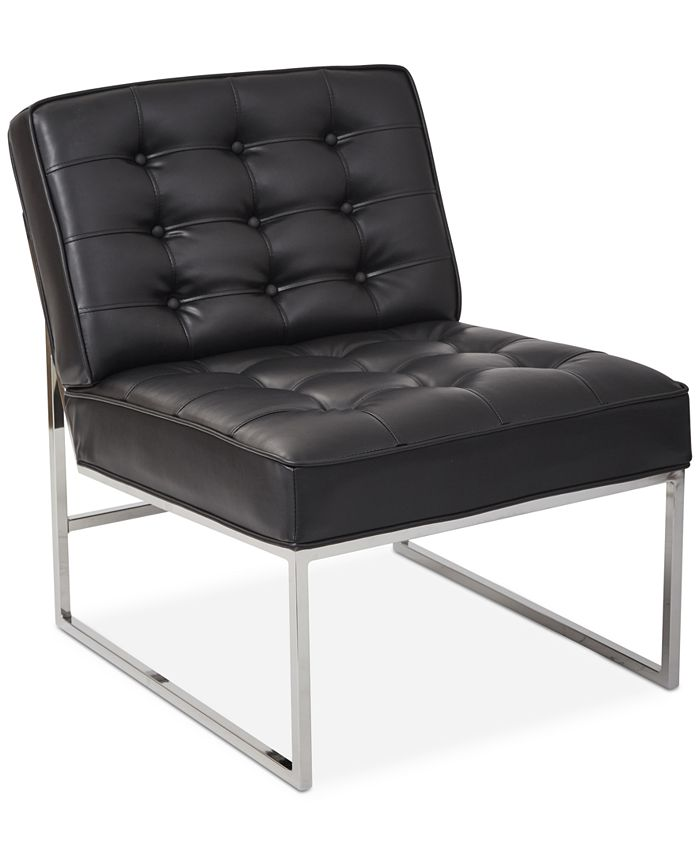 Office Star - Wide Faux-Leather Accent Chair,