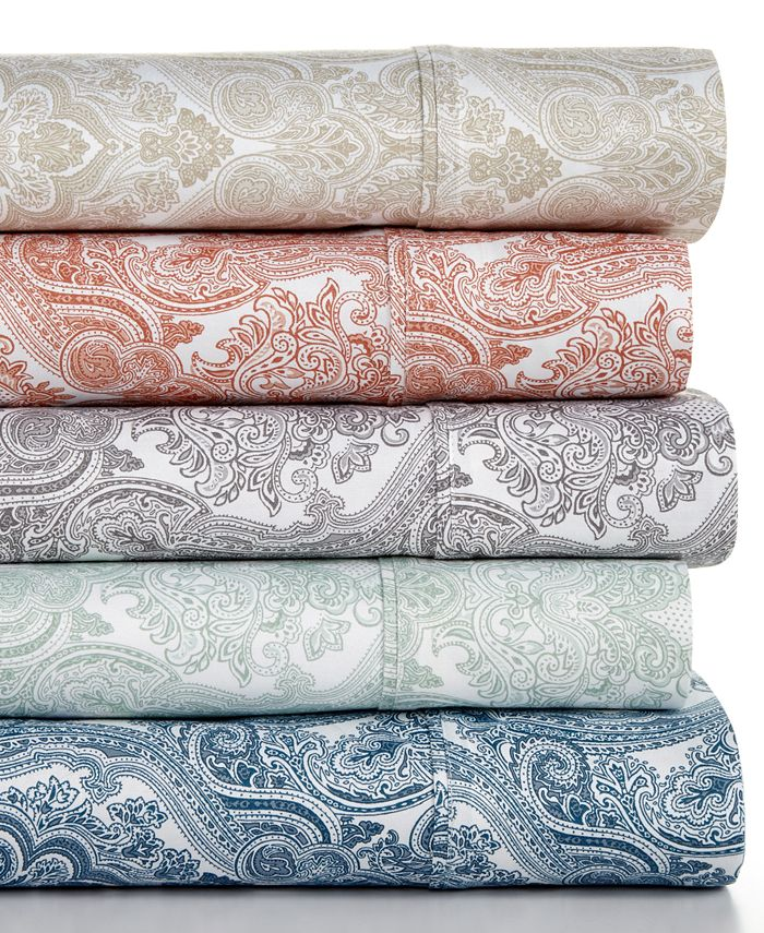 Sunham - Caprice Paisley Print 350 Thread Count Queen Sheet Set