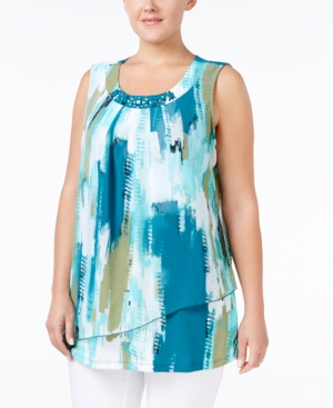 Jm Collection Plus Size Printed Embellished Blouse, Only at Macy's