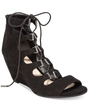Bar Iii Kerry Lace-Up Wedge Dress Sandals, Only at Macy's Women's Shoes
