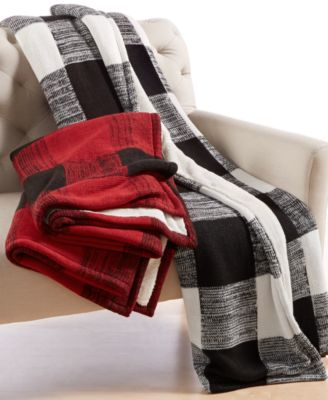 Martha Stewart Collection Sweater-Knit Buffalo-Plaid Throw, Only at Macy's