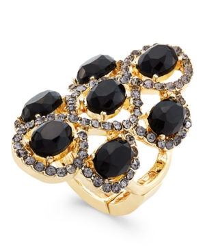 Inc International Concepts Gold-Tone Black Stone and Crystal Figure Eight Stretch Ring, Only at Macy's