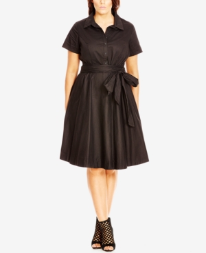 City Chic Plus Size Fit  Flare Shirtdress $78.99 AT vintagedancer.com
