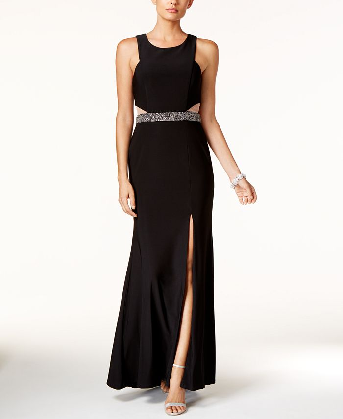 XSCAPE - Illusion Cutout Embellished Halter Gown