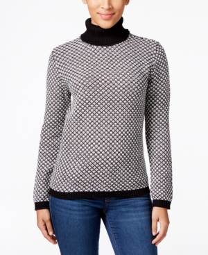 Karen Scott Petite Patterned Turtleneck Sweater Only at Macys $46.50 AT vintagedancer.com