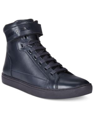 Armani Jeans Men's Perforated Hightop Sneakers Men's Shoes