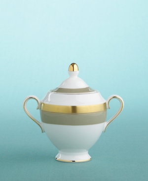 """Martha Stewart Collection with Wedgwood """"Wedding Band Taupe"""" Covered Sugar Bowl"""