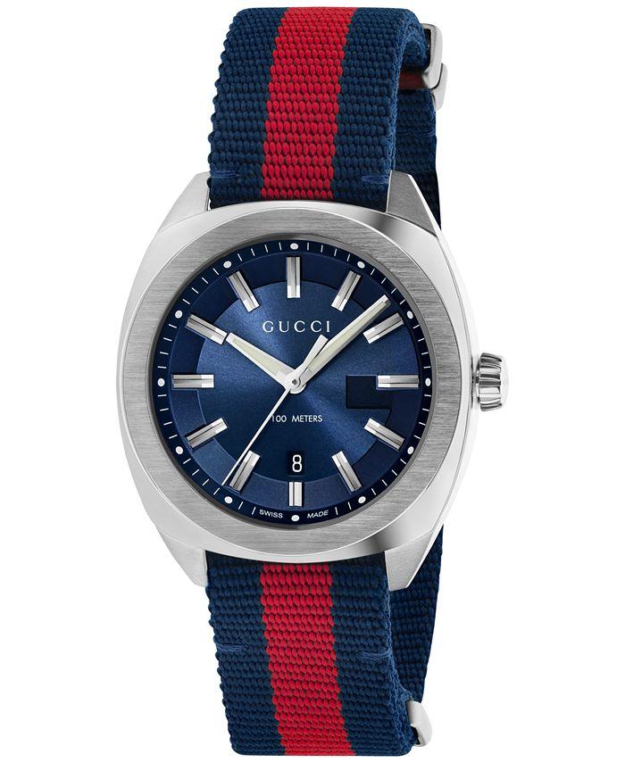Gucci - Men's Swiss Cushion Blue-Red-Blue Web Nylon Strap Watch 41mm YA142304