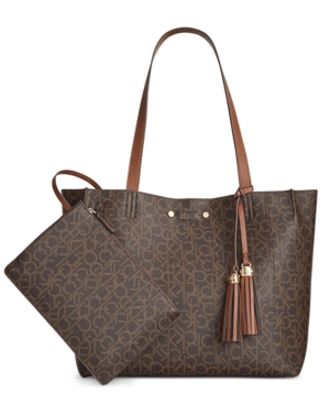 Calvin Klein Monogram Reversible Tote with Pouch