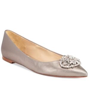 Badgley Mischka Davis Ii Embellished Pointed Toe Evening Flats Women's Shoes