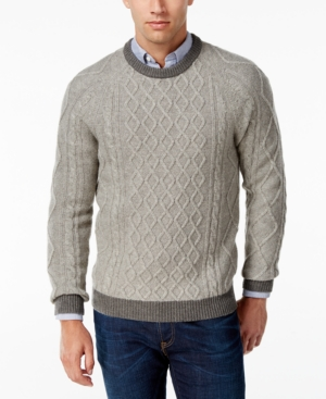 Men's Vintage Style Sweaters – 1920s to 1960s Club Room Mens Cable-Knit Sweater Only at Macys $59.99 AT vintagedancer.com