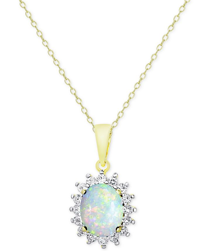 Macy's - Opal (1-1/2 ct. t.w.) and White Topaz (5/8 ct. t.w.) Pendant Necklace in 18k Gold-Plated Sterling Silver