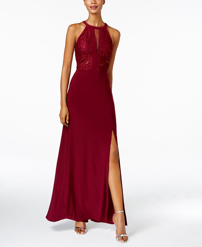 Nightway - Petite Lace-Trim Illusion Halter Gown