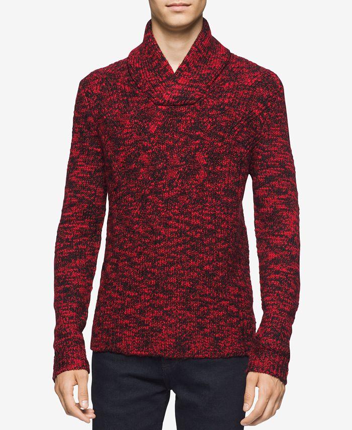 Calvin Klein - Men's Asymmetric Cable-Knit Shawl-Collar Sweater