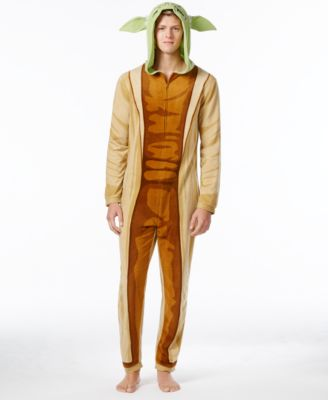 Star Wars Mens Yoda Hooded One-Piece Pajamas from Briefly Stated
