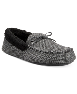 Club Room Men's Herringbone Bomber Moccasin Slippers, Only at Macy's