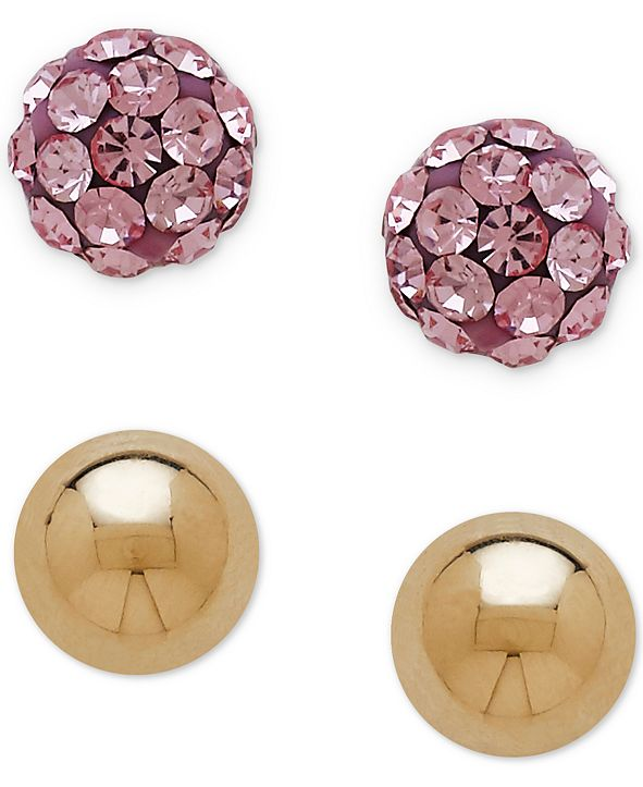 Macy's Children's 2-Pc. Set Pink Crystal and Ball Stud Earrings in 14k Gold