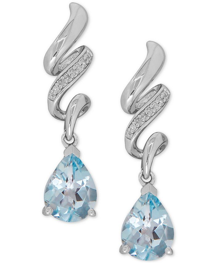 Macy's - Aquamarine (1-7/8 ct. t.w.) and Diamond Accent Twist Drop Earrings in Sterling Silver