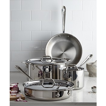 7-Piece All-Clad Tri-Ply Stainless Steel Cookware Set