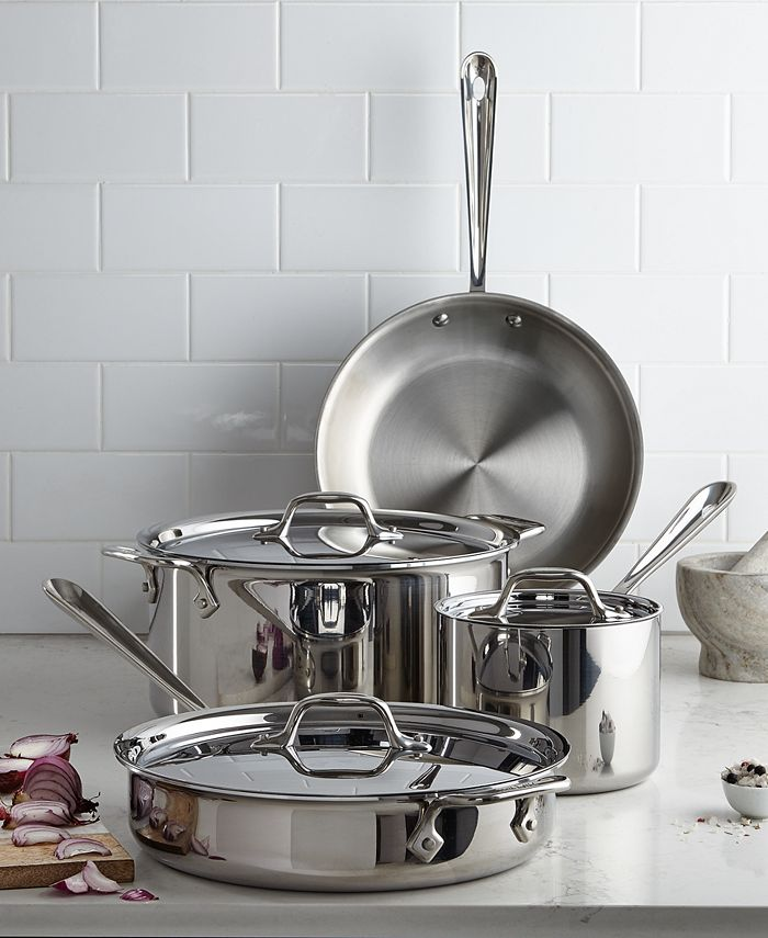 All-Clad - Stainless Steel Cookware, 7 Piece Set
