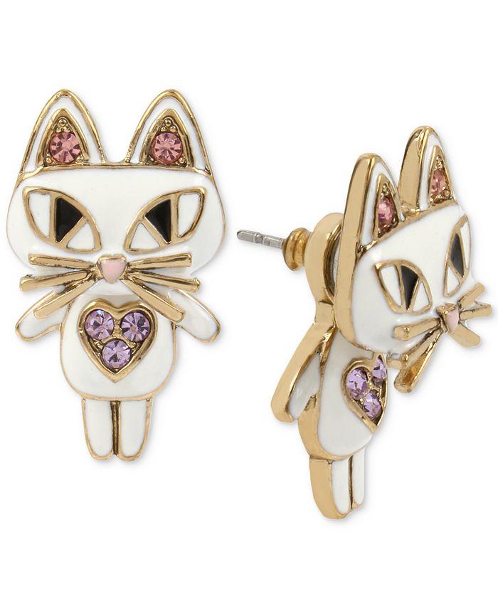 Betsey Johnson - Gold-Tone White Enamel Cat Earring Jackets