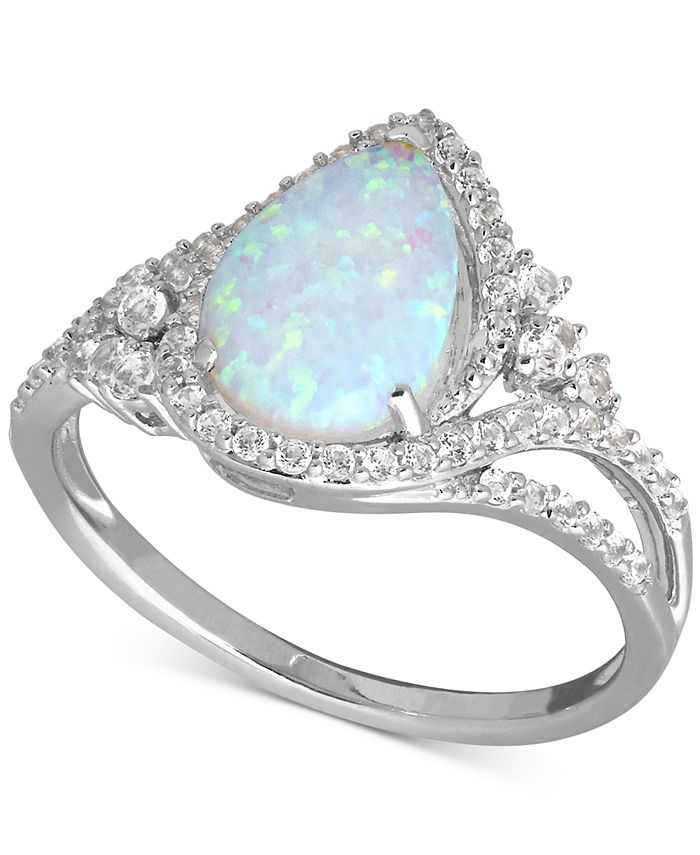 Macy's - Lab-Created Opal (3/4 ct. t.w.) and White Sapphire (3/8 ct. t.w.) Ring in Sterling Silver