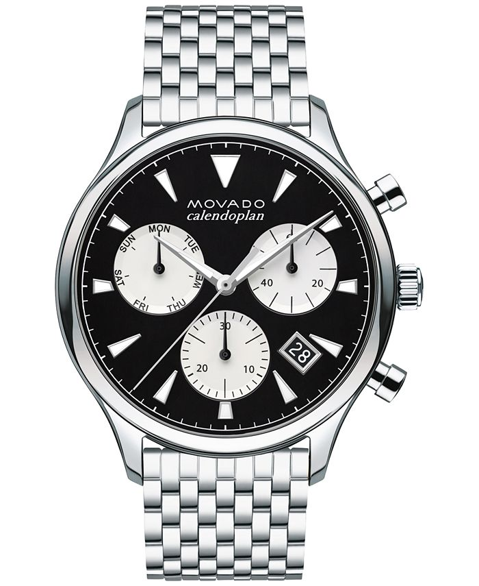 Movado - Men's Swiss Chronograph Heritage Stainless Steel Bracelet Watch 43mm 3650014