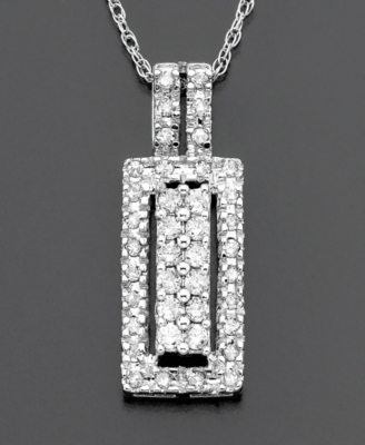 14k White Gold Diamond Two-Row Pendant (1/3 ct. t.w.)