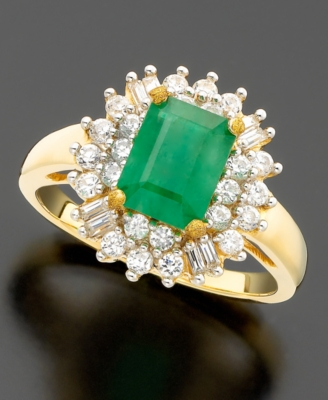 14k Gold Emerald (1-3/8 ct. t.w.) & Diamond (3/4 ct. t.w.) Cluster Ring