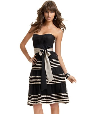 BCBGMAXAZRIA Strapless Tiered Dress With Sash - Dresses - Women's - Macy's from macys.com