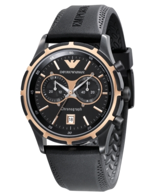 Emporio Armani Watch, Men's Black Rubber Strap AR0584