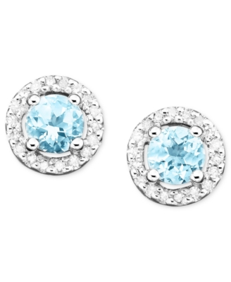 14k White Gold Aquamarine (3/8 ct. t.w.) & Diamond (1/10 ct. t.w.) Stud Earrings