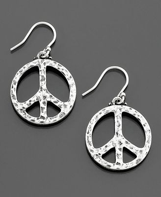 Lucky brand earrings small silver tone hammered peace for Macy s lucky brand jewelry