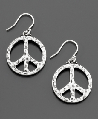 Lucky Brand Small Silvertone Hammered Peace Sign Earrings