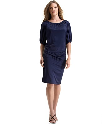 Calvin Klein Boat-Neck Ruched Charmeuse Dress - Wear to Work Daytime Dresses - Women's - Macy's :  ruched calvin klein charmeuse boatneck