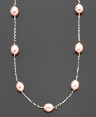 Sterling Silver Pink Freshwater Pearl Tin Cup Necklace